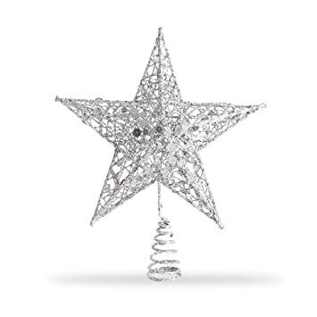 Star Tree Topper Exquisite Shimmery 8 Inch X 6 Inch Star Christmas Tree Topper Christmas Tree Decoration 5 Point Star Treetop Decor Silver