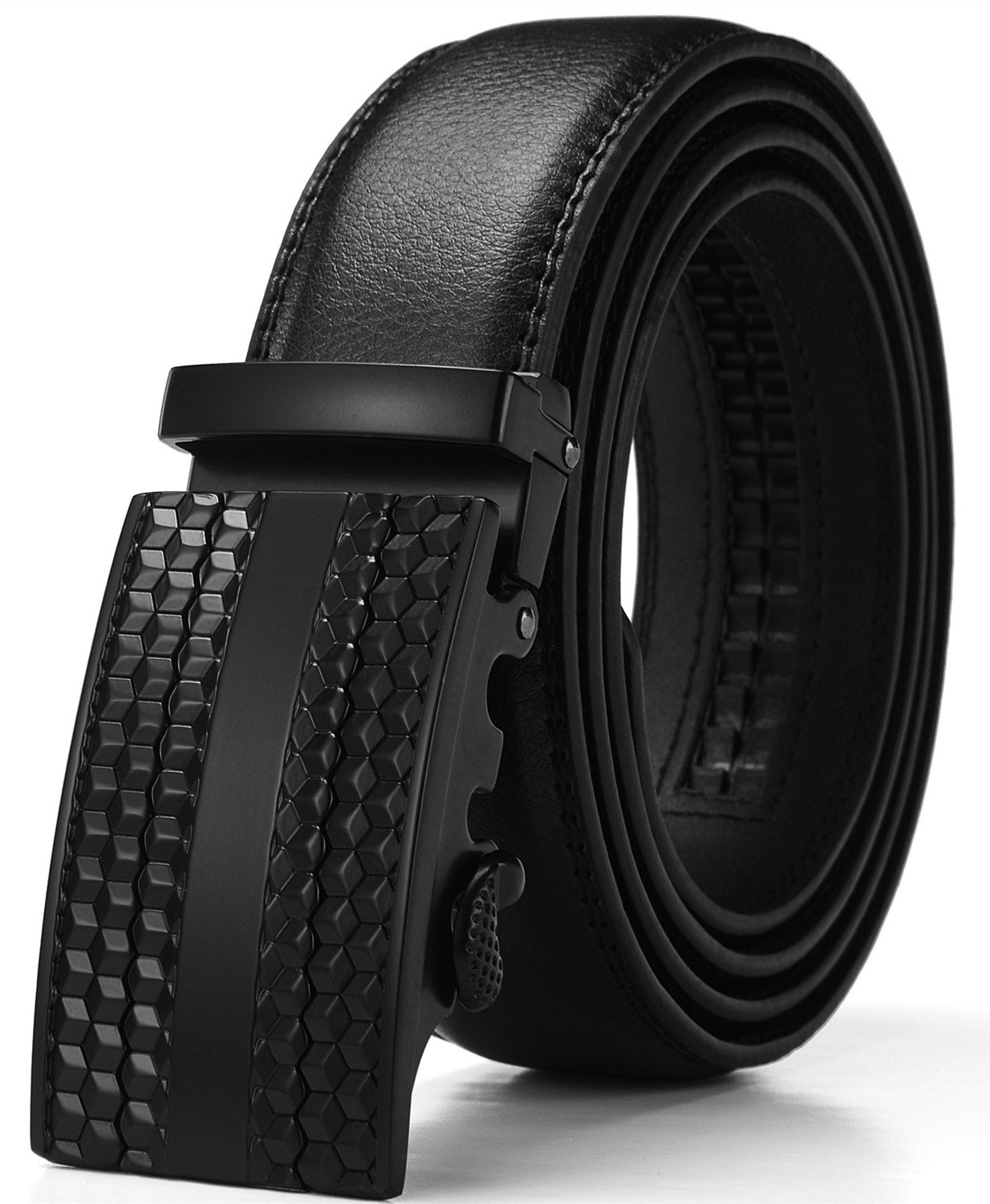 XDeer Men's Leather Ratchet Dress Belts with Automatic Buckle Gift Box (Waist:36-42, Black2)