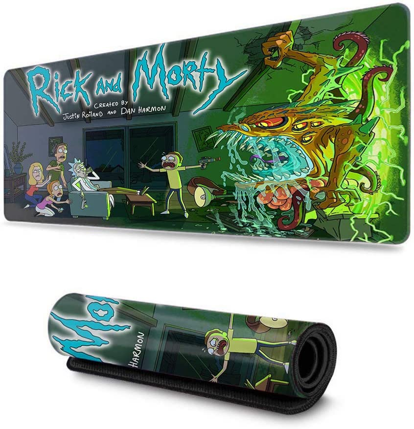 Extended Size Professional Gaming Mouse Pad Computer Keyboard Pad Mat Rick /& Morty Ultra Thick 3Mm for Pc Computer Laptop Car Morty Smith Purple Rick Sanchez Sunset-11.8x31.5 in