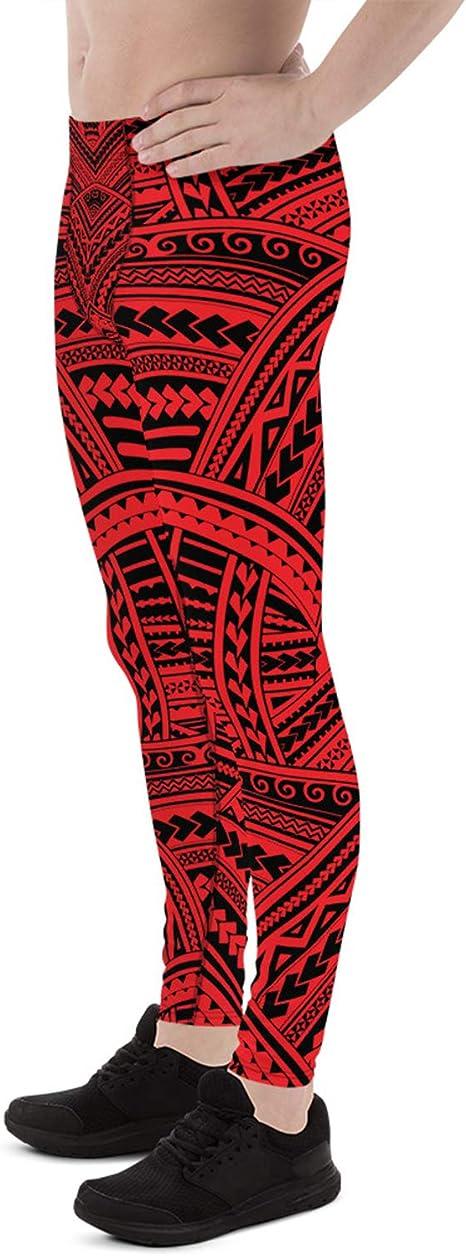 Maori Tattoo Mens Leggings Tribal Polynesian Design Printed Meggings For Men