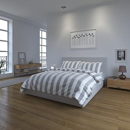 Bloomsbury Mill Juego de ropa de cama a rayas, color gris y blanco, algodón