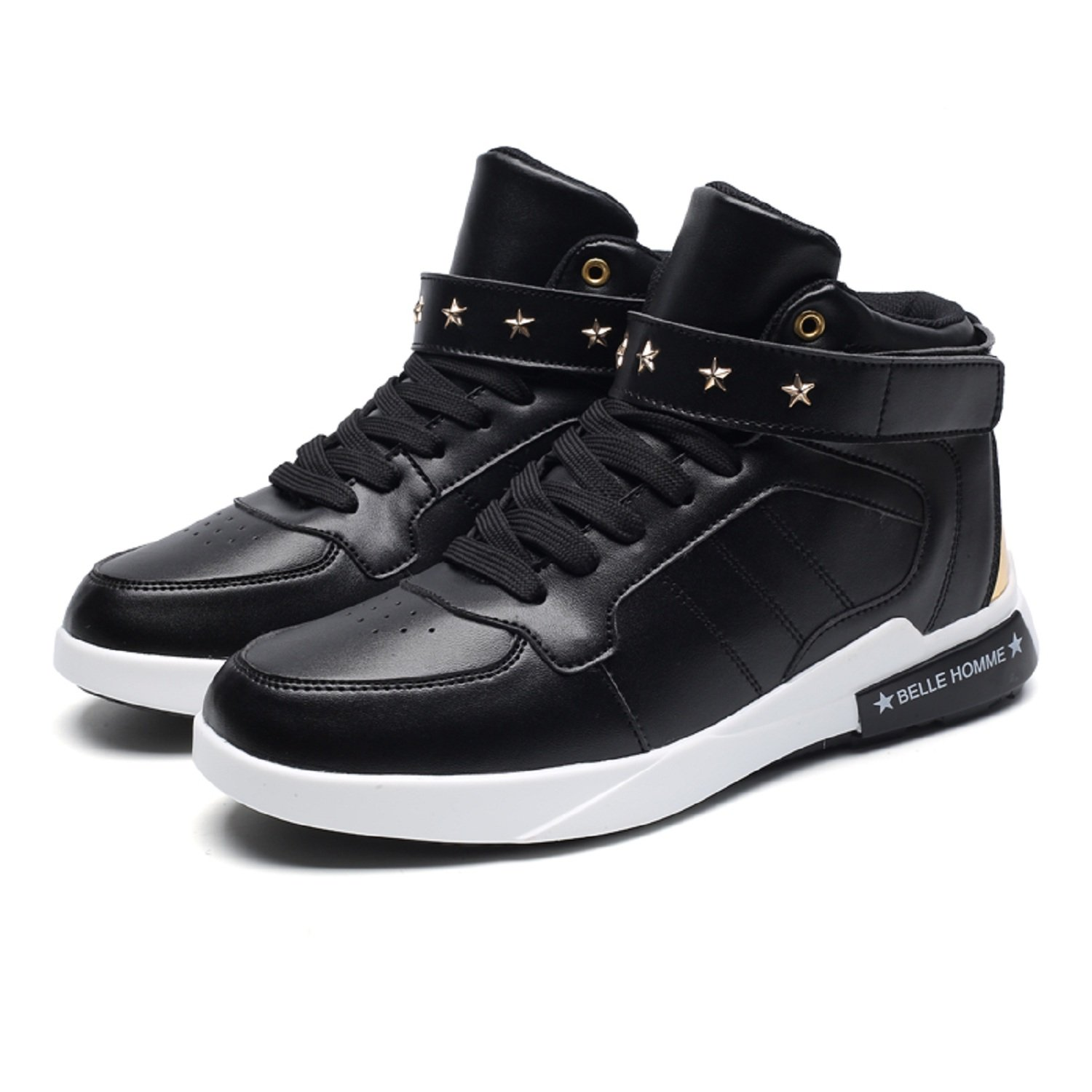945610c718bc tqgold Mens Casual High-Top Trainers Sneakers Leather Waterproof Velcro  Lace up Shoes  Amazon.co.uk  Shoes   Bags
