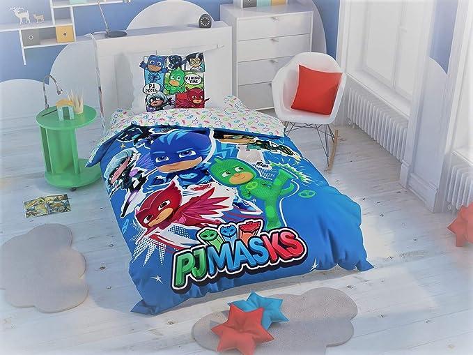 Juego de funda de edredón PJ Masks Hero que brilla en la oscuridad, 3 piezas, 100% algodón, ropa de cama para niños y niñas