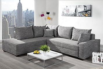 Design Ecksofa APARTMENT Strukturstoff Grau Federkern Sofa Schlaffunktion