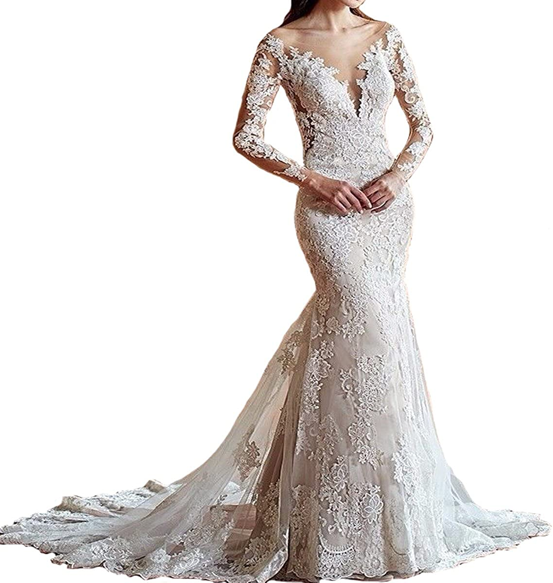 Yuxin Womens Illusion Long Sleeves Lace Mermaid Wedding Dress Appliques V Cut Backless Bridal Gowns
