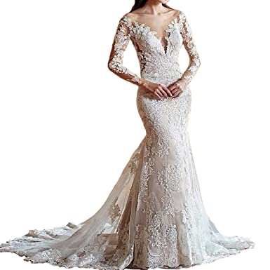 50d316133d1b Yuxin Women's Illusion Long Sleeves Lace Mermaid Wedding Dress Appliques V  Cut Backless Bridal Gowns at Amazon Women's Clothing store: