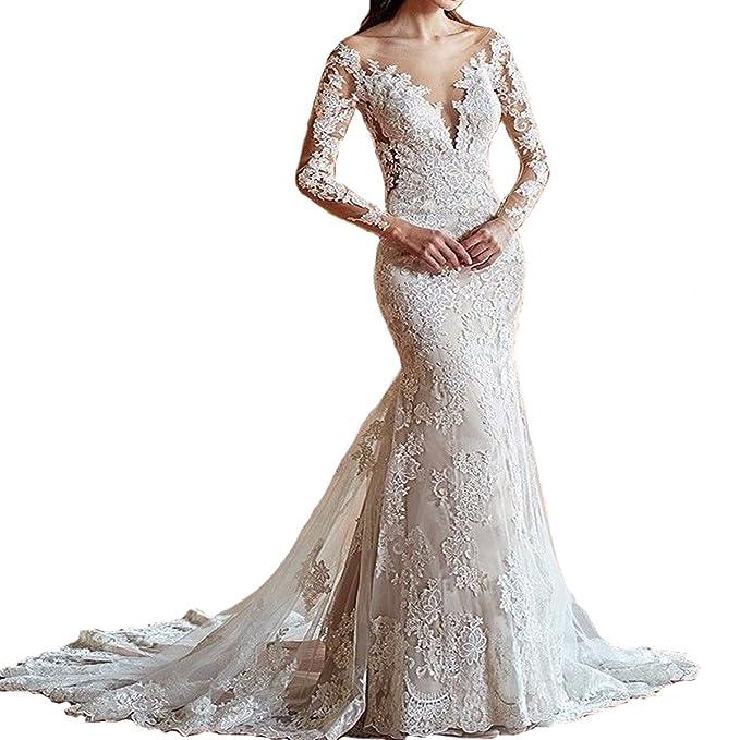 Yuxin Women\'s Illusion Long Sleeves Lace Mermaid Wedding Dress ...