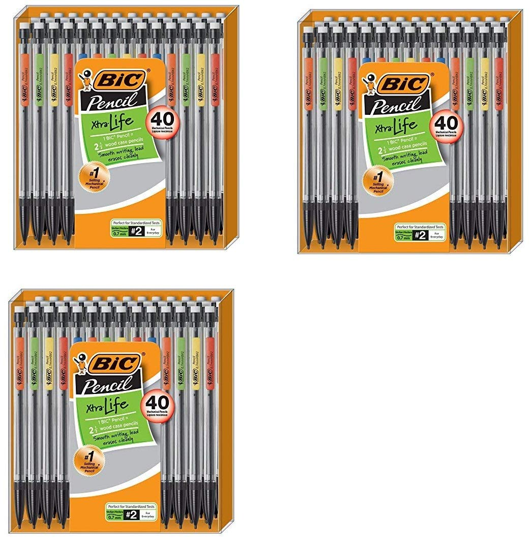 BIC Xtra-Life Mechanical Pencil, Medium Point (0.7 mm), 40 Count (3 Pack) by BIC
