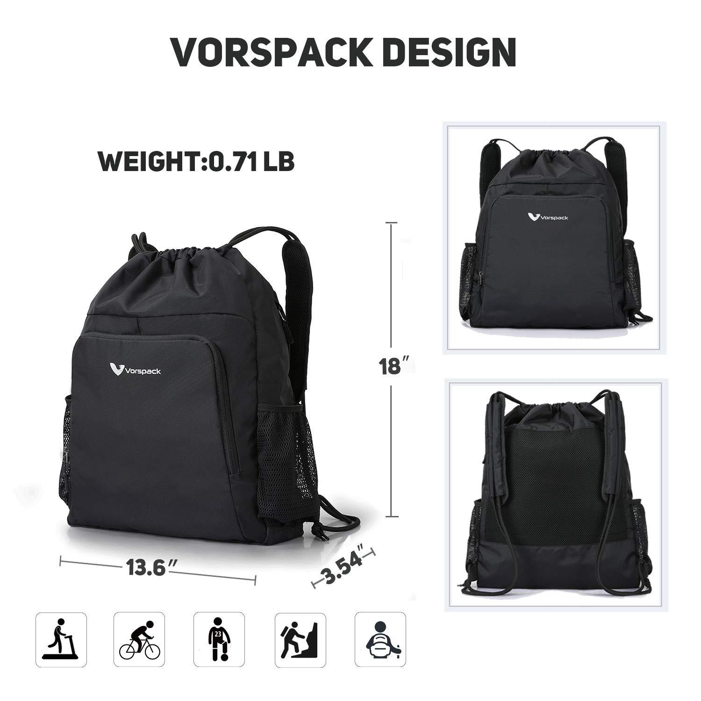 Drawstring Backpack Nylon Sports Gym Waterproof String Bag Cinch Sack Gymsack for Men Women