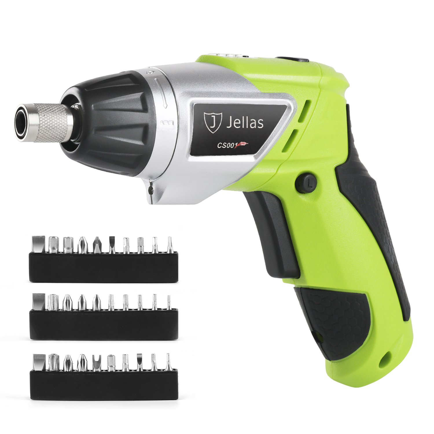 Jellas CS001 Cordless Screwdriver 3.6V/2000mAh Rechargeable Electric Drill with 6+1 Torque Settings for Around Home Small Jobs, 30 PCS Driver Bits and Extension Bit Holder Included.
