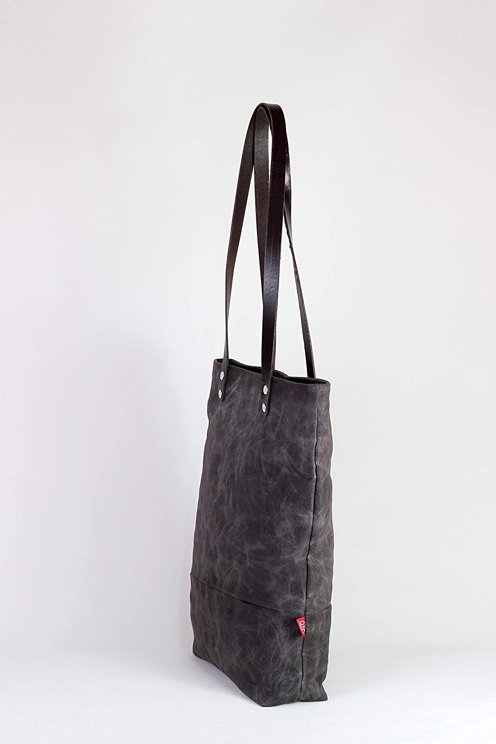 b798927aa7a7 Amazon.com  Dark brown waxed canvas tote bag with leather strap shoulder  use magnetic snap closure fully cotton lined simply minimalist large   Handmade
