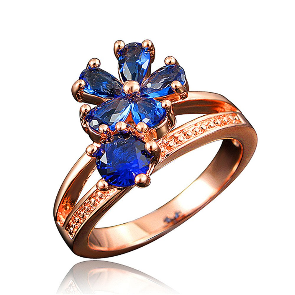 Women's Stacking Ring Pave Cubic Zircon Eternity Promise Ring Flower Top Infinity Wedding Band by 17maimeng (Image #8)
