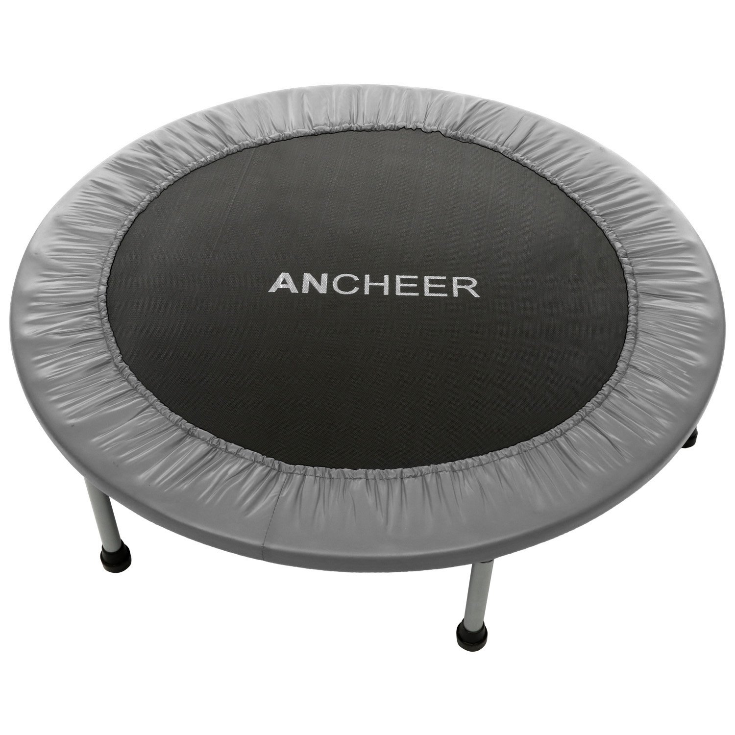 ANCHEER Max Load 220lbs Rebounder Trampoline with Safety Pad for Indoor Garden Workout Cardio Training (2 Sizes: 38 inch / 40 inch, Two Modes: Folding/Not Folding) (Red, 40inch - Folding one time)