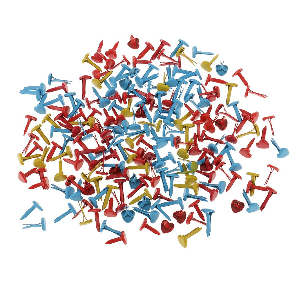 MagiDeal 200 Piezas Mini Brads de Corazón Papel Artesanía Sujetadores para Cardmaking Scrapbooking Accesorios de Oficina Casa Regalo