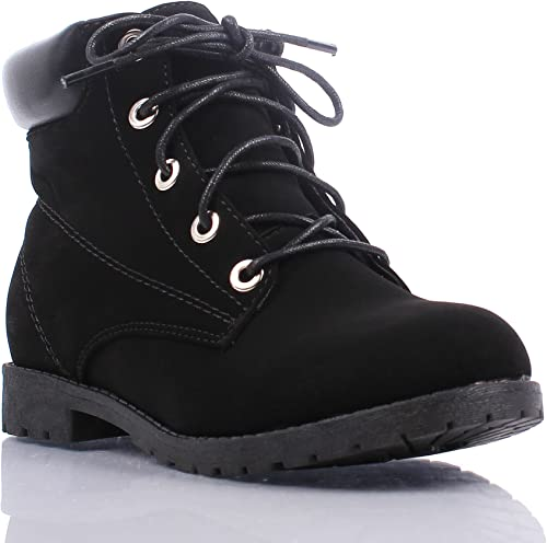 Black New Girls Kids Military Combat Mid Calf Boots Youth Shoes US Size 9