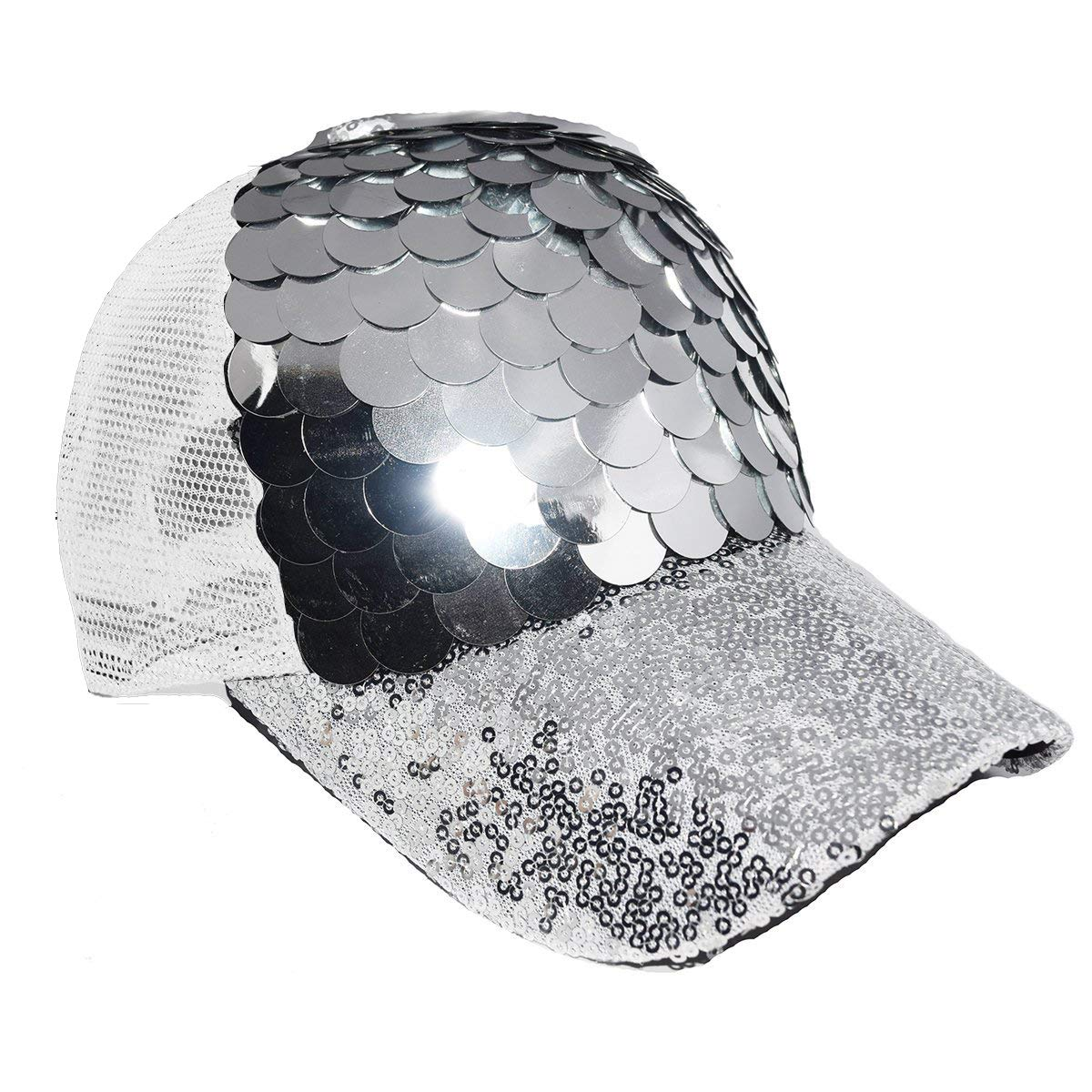 fade0265805d48 Amazon.com: Maticr Unisex Bling Mermaid Scales Sequin Trucker Hats  Adjustable Mesh Caps Baseball Party Hat (Silver): Toys & Games