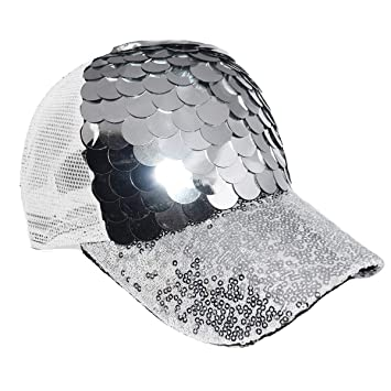 Maticr Unisex Bling Mermaid Scales Sequin Trucker Hats Adjustable Mesh Caps  Baseball Party Hat (Silver 871d0111448