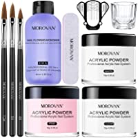 Morovan Acrylic Nail Kit Acrylic Powder and Professional Liquid Monomer set with Acrylic Nail Brush Nail Forms tips for…