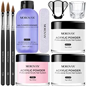 Morovan Acrylic Nail Kit Acrylic Powder and Professional Liquid Monomer set with Acrylic Nail Brush Nail Forms tips for Acrylic Nails Extension Beginner kit