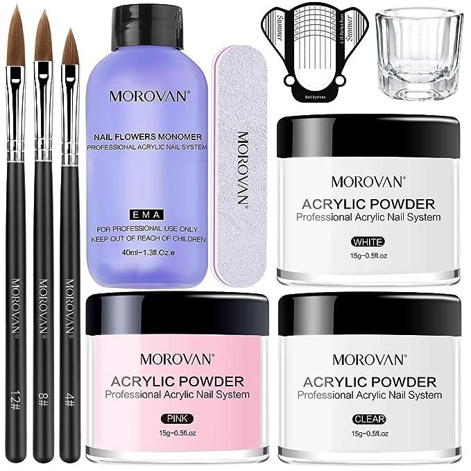 Morovan Acrylic Nail Kit Acrylic Powder and Professional Liquid Monomer set with Acrylic Nail Brush Nail Forms tips for Acrylic Nails Extension Beginner kit   Amazon
