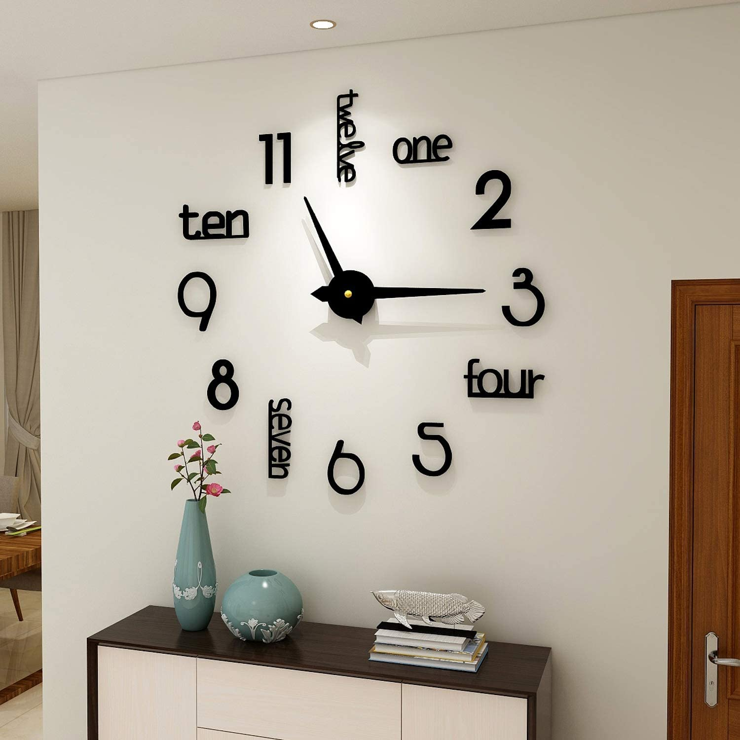 Fashion 3d Diy Wall Clock Decor Sticker Mirror Frameless Large Diy Wall Clock Kit For Home Living Room Bedroom Office Decoration Black Kitchen Dining