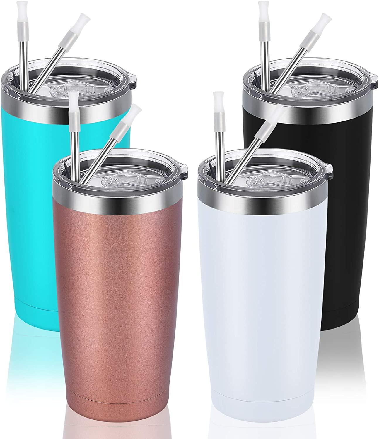 4 Pack Travel Tumblers with 8 Lids, Stainless Steel Double Wall Vacuum Travel Tumbler for Home School Office Camping, Insulated Tumbler Works Good for Ice Drink Hot Beverage(20oz, Assorted Colors)
