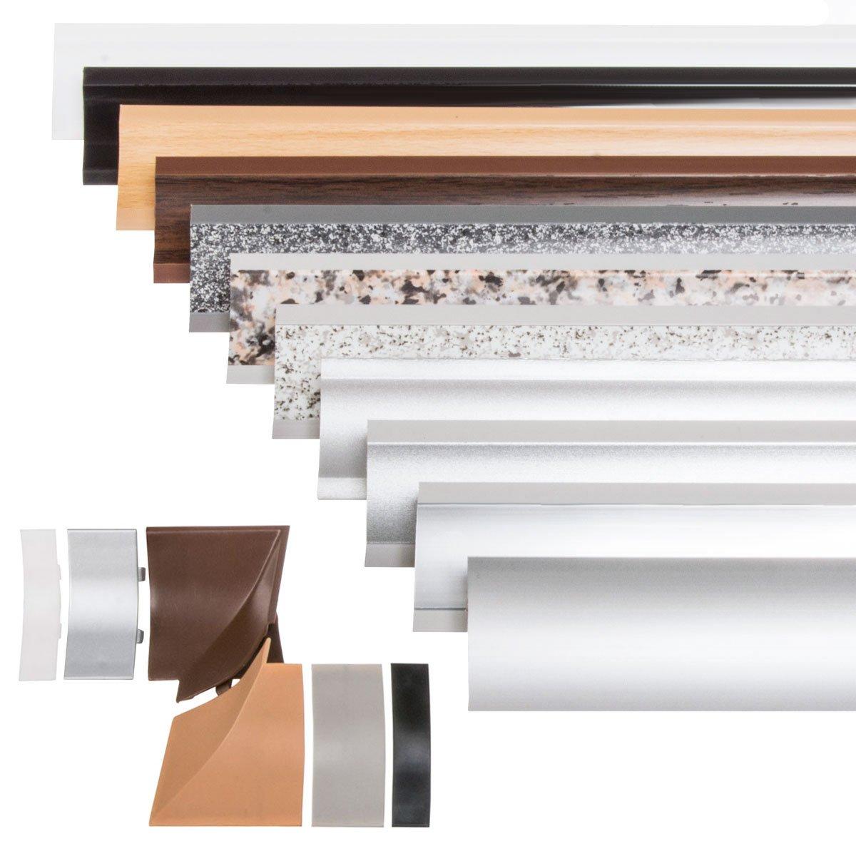 HOLZBRINK Capuchon dExtr/émit/é Plinthe de Comptoir de Cuisine Aluminium Satin/é 23x23 mm Bande de Finition PVC