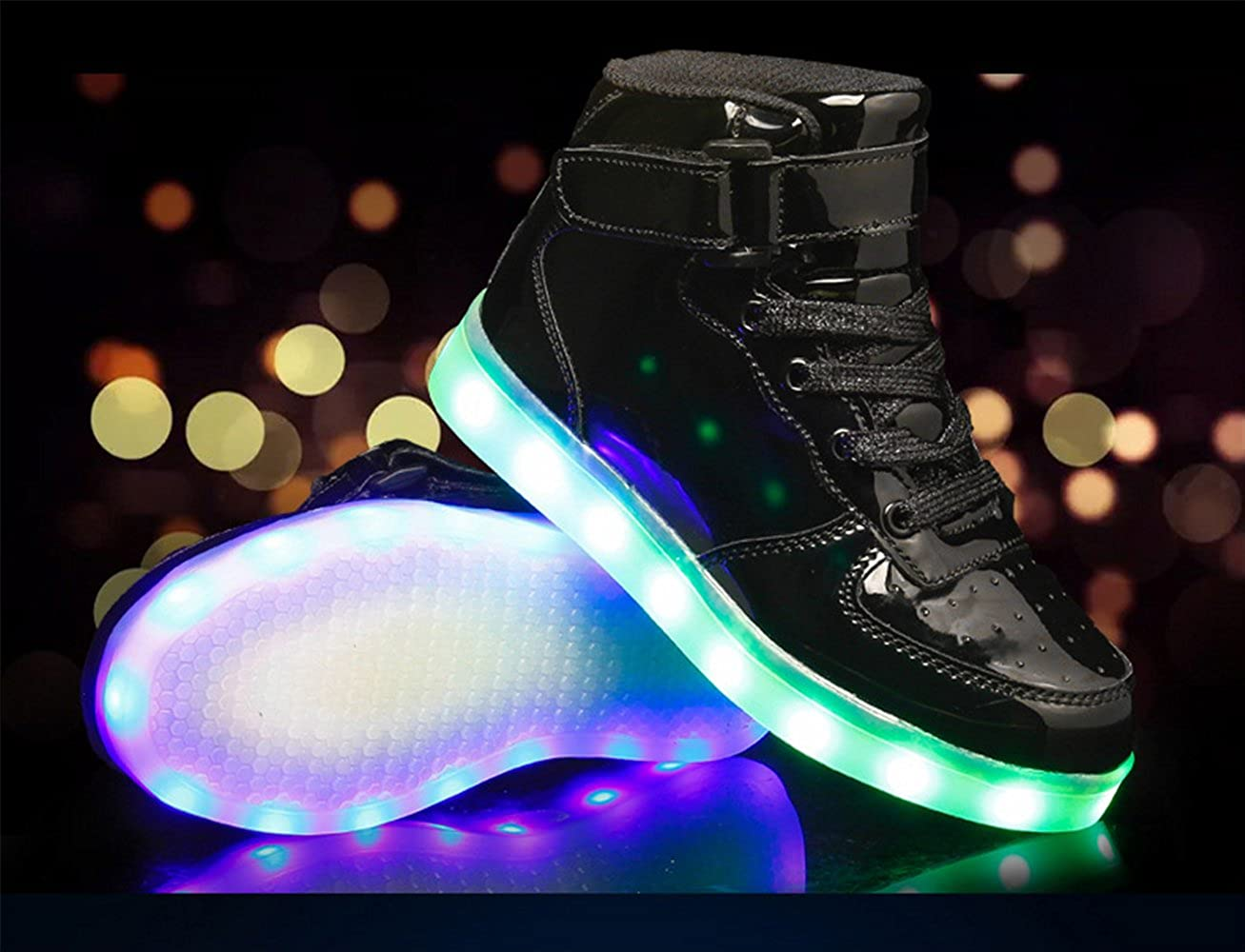A2kmsmss5a New Children High Top Dance LED Light Up Shoes USB Sneakers for Kids Boys Girls