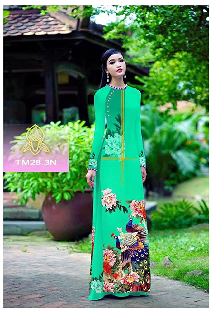 Traditional Vietnamese Long Dress Collections with Pants ADVN00342 Silk 3D Ao Dai All Size