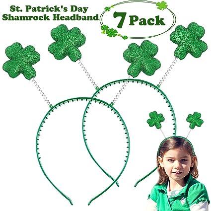 COWEAL 7 Pack St. Patrick s Day Headband Green Shamrock Head Boppers Irish  St. Patrick s be17f4c43a