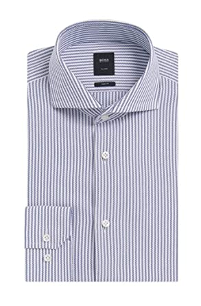 a788e4c96 Image Unavailable. Image not available for. Color: Hugo Boss Men's  T-Christo' Blue Slim Fit Striped Cotton Dress Shirt ...