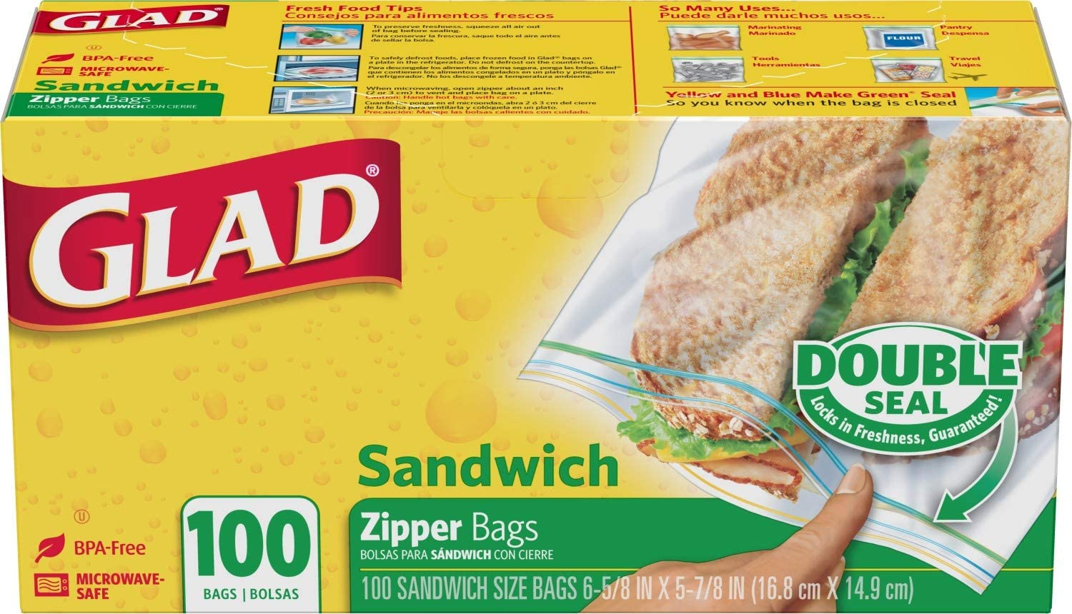 Glad Glad zipper food storage sandwich bags - 100 count (packaging may vary), Clear-Clear, NOT APPLICABLE, NOT APPLICABLE, 100 Count