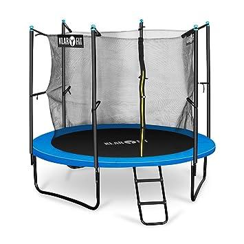 Klarfit Rocketboy 250 Cama elástica trampolin con red de seguridad (superficie base 250 cm diametro, sujecion 3 patas doble, varillas de sujecion ...