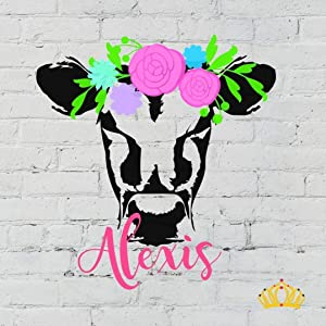 Cow with Flower Crown and Name Vinyl Decal | Personalized Heifer Sticker for Yeti Tumbler, RTIC Cup, Water Bottle, Laptop, Car Window | You Choose Size and Colors