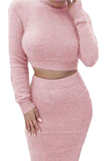 baaf163676c20 Womens Sexy Furry 2 Piece Outfits Bodycon Short Sleeve Crop Top ...