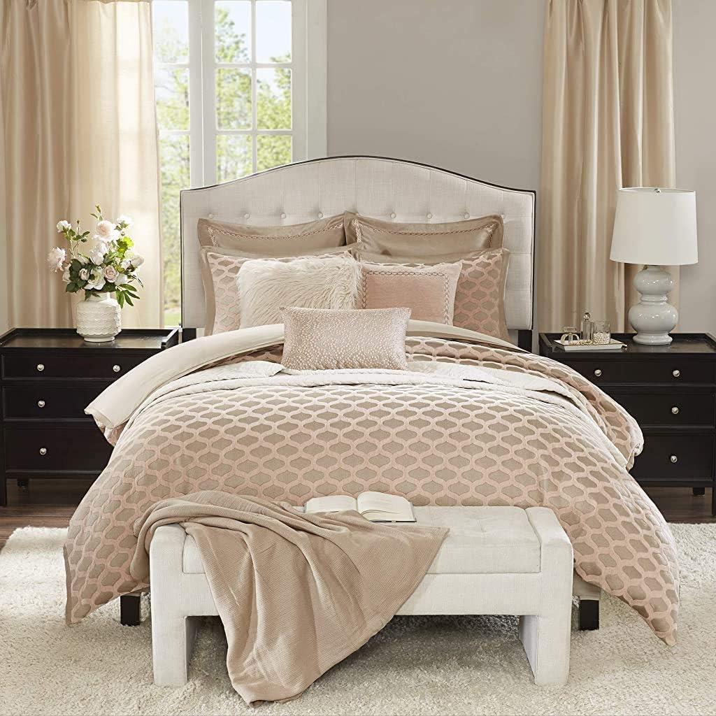 Madison Park Signature Romance King Size Bed Comforter Duvet 2-In-1 Set Bed In A Bag - Pink Blush , Jacquard – 9 Piece Bedding Sets – Ultra Soft Microfiber Bedroom Comforters
