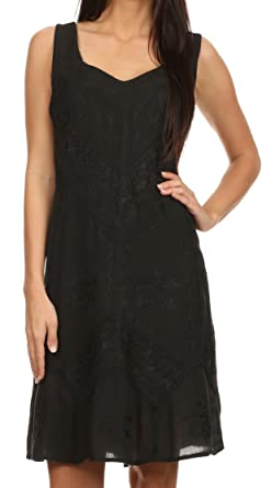 d088308b568b Sakkas 1503 - Sudha Stonewash Embroidery Mid Length Adjustable Dress - Black  - S/M