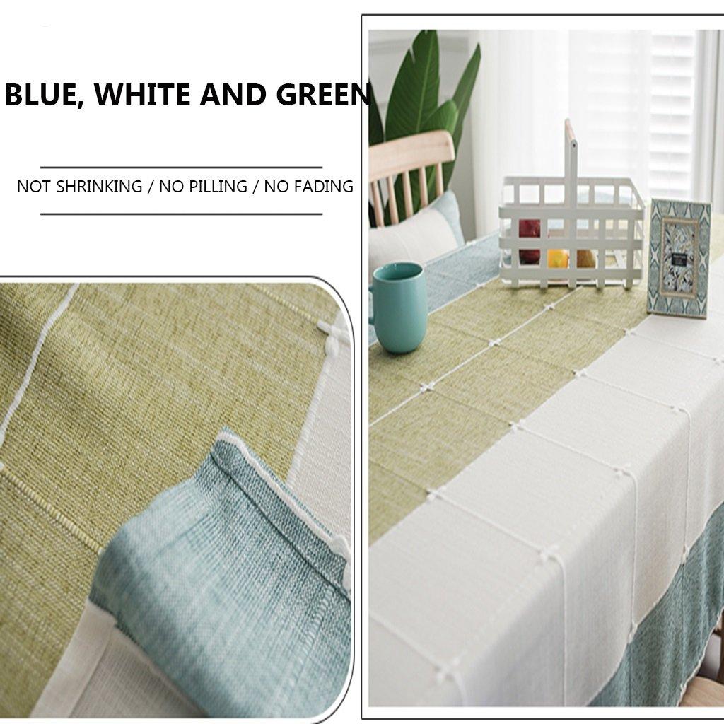 QINGTAOSHOP Mantel Azul Blanco Verde Costura Patrón de Cuadros ...