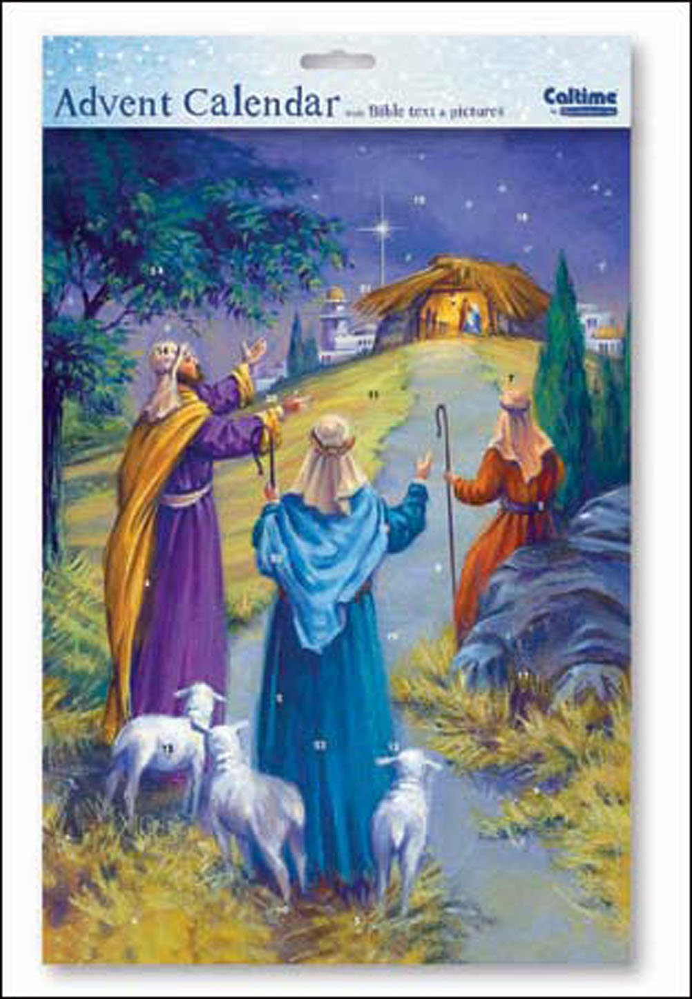 Starry Night Shepherds Following Star Religious Advent with white envelope Size: 245mm x 350mm Caltime … woodmanstern