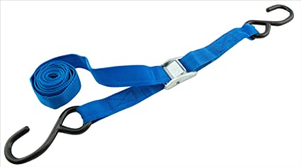 Pack of 4 PROGRIP 412440 Light Duty Cargo Tie Down Strap with Polyester Webbing and Coated S-Hooks 6 x 1 Standard Cambuckle