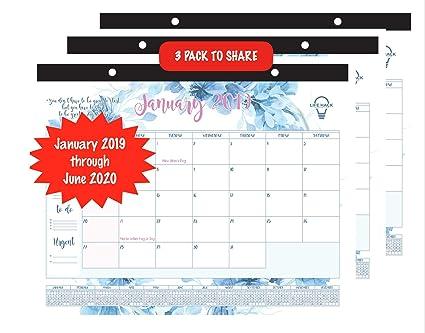 Calendario de escritorio 2019-2020: calendario mensual ...