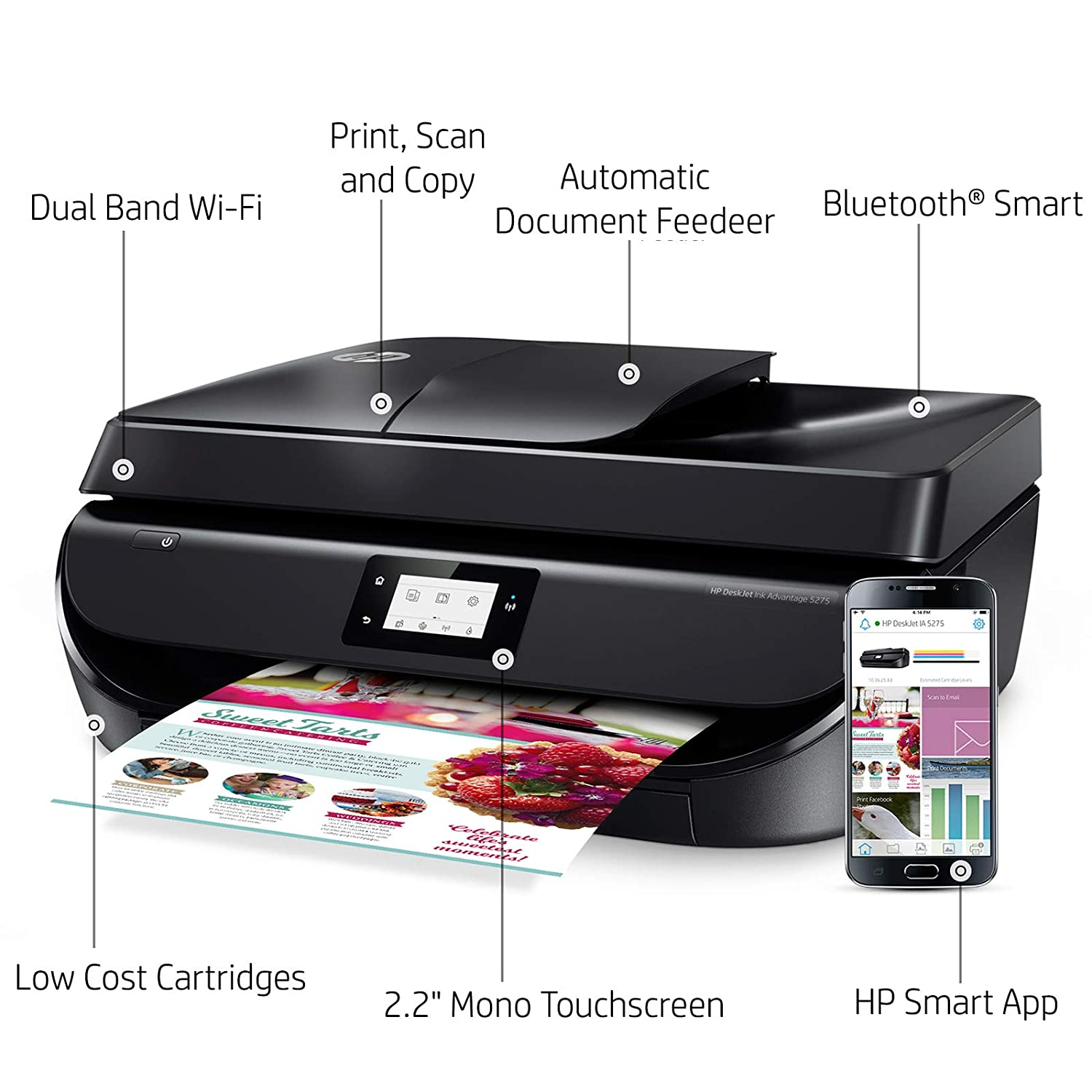 HP DeskJet 5275 All-in-One Ink Advantage WiFi Printer with FAX/ADF/Duplex  Printing (Black)