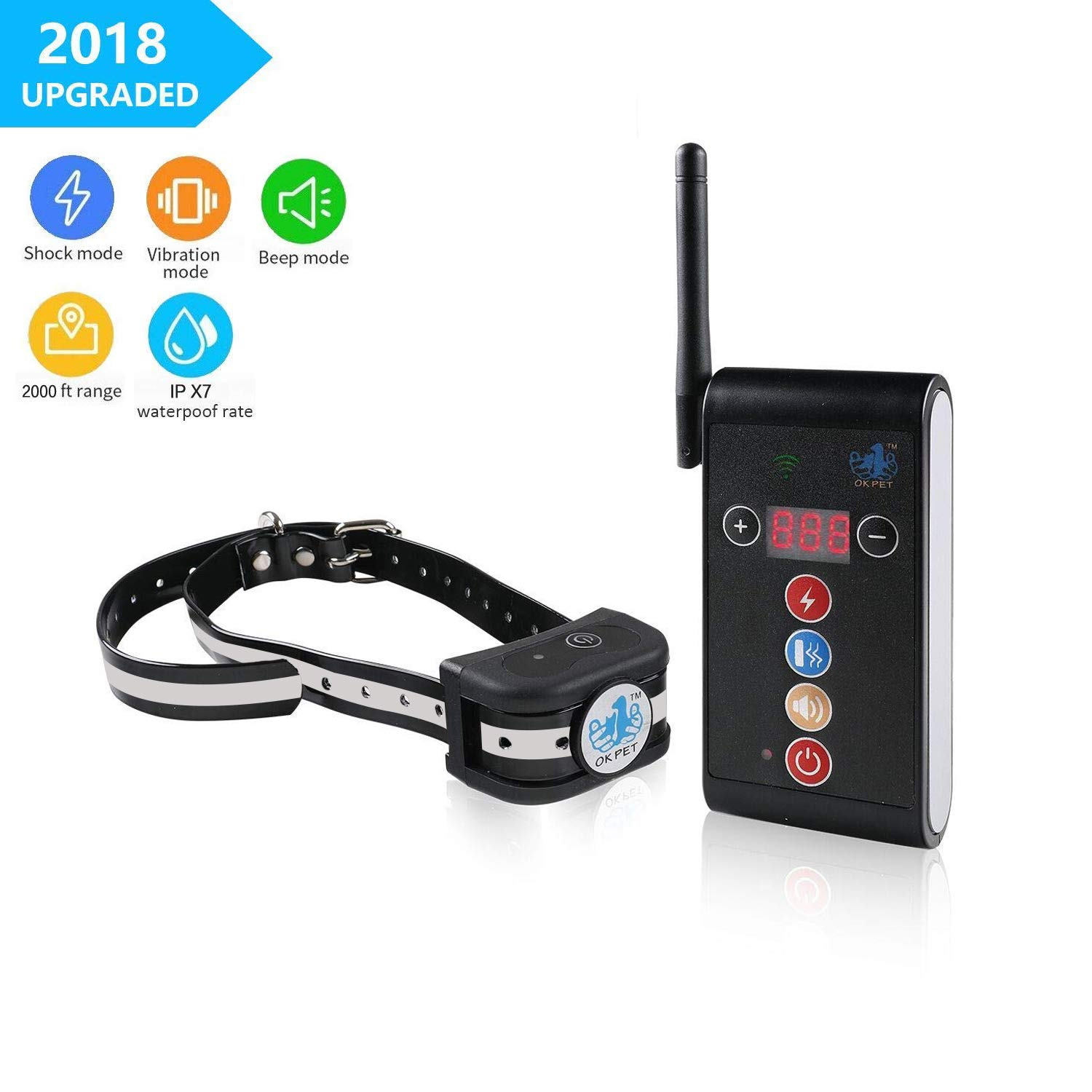 Dog Training Collar [NEW 2019], 2000ft Range Antenna Adjustable Remote Shock Training E-Collar, Rechargeable IPX7 Waterproof Collar, Beep/Vibration/Electric Shock Collar for Small Medium Large Dogs