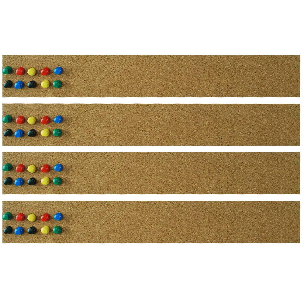 Lockways Cork Bulletin Bar Strip Set 4 Pieces, 2 x 15 Inch, Frameless Cork Board Memo Strip for Office, School, Home Holiday Decor
