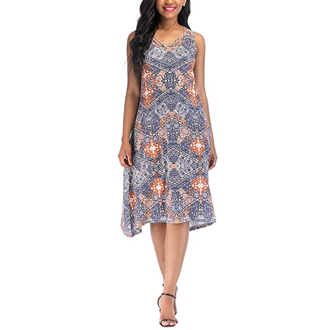 c063cd40d05 OneWorld Women s Sleeveless Sharkbite Hem Boho Print Tunic Swing Dress(S)