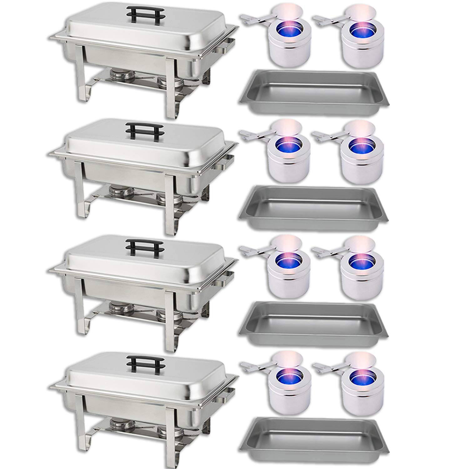 Chafing Dish Buffet Set - Water Pan + Food Pan (8 qt) + Frame + 2 Fuel Holders - Stainless-Steel Warmer Kit 4 Pack