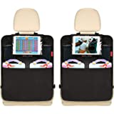 "Dear Auto Car Back Seat Organizer - 2 Pack - Premium Quality Car Kick Mats with 10"" Tablet Holder - Extra Large Pocket…"