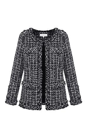 dac2d0b9c1b Vosujotis Women Elegant Outcoat Tweed Wool Long Sleeve Slim Open Front Coats:  Amazon.co.uk: Clothing