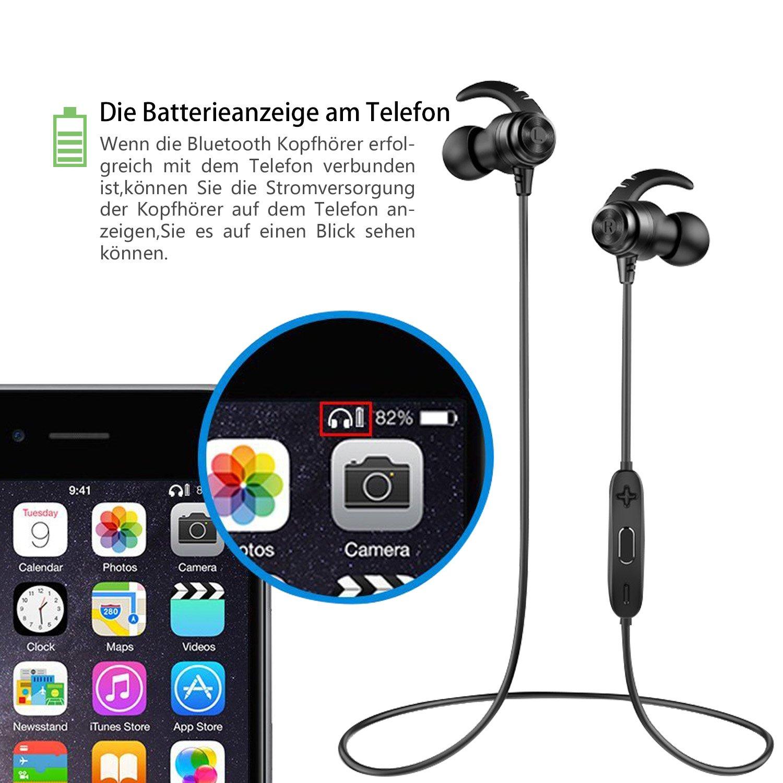 ANCREU Auriculares Bluetooth 4.1 Impermeables In-Ear Auriculares Inalámbricos Deportivos Cancelación de Ruido con Micrófono 10 Horas Tiempo de Reproducción ...