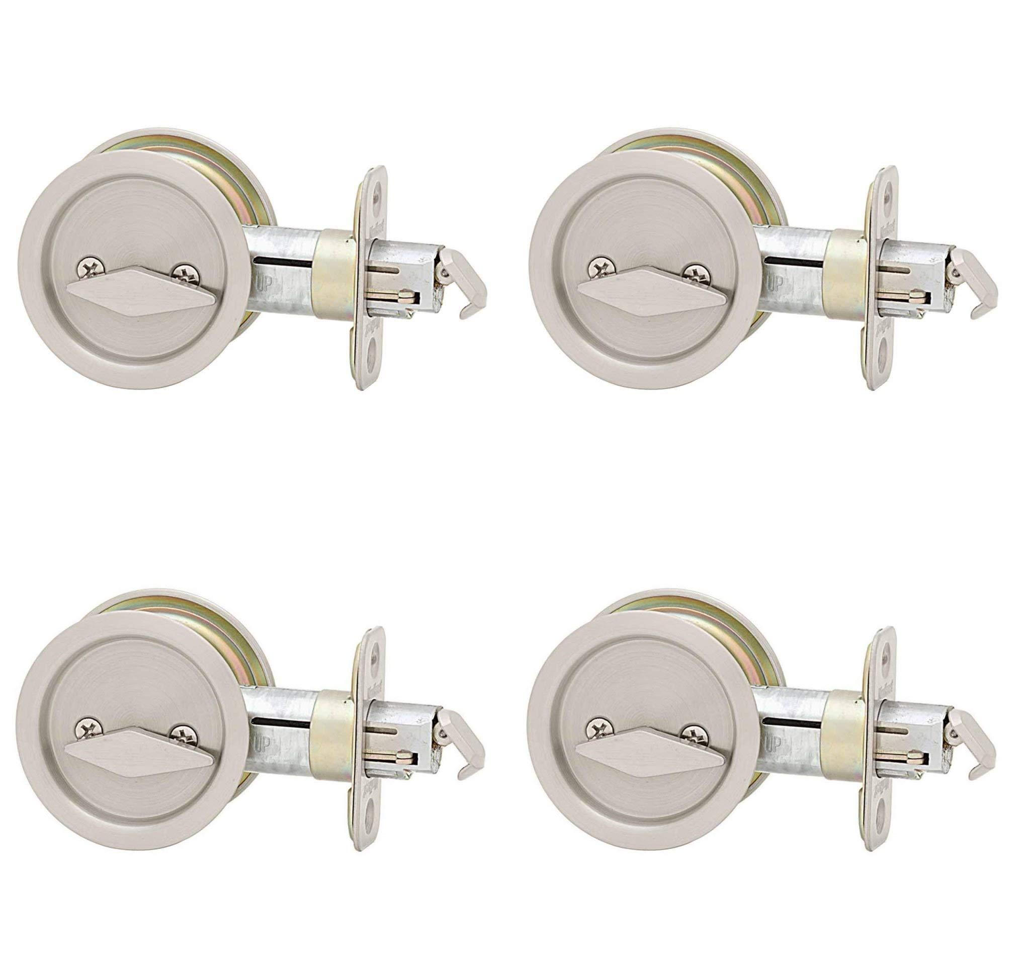 Kwikset 335 Round Bed/Bath Pocket Door Lock in Satin Nickel (Pack of 4)